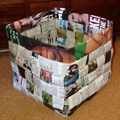Waste Paper Basket made from recycled magazines & plastic