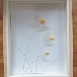 Daisy sea glass picture - framed