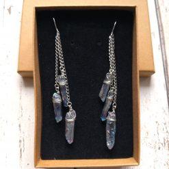 Aura blue coloured quartz shards on chains dangle earrings 12