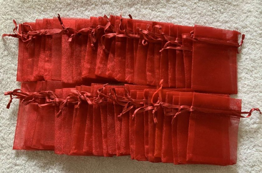 50 Christmas Red Small Organza Gift Bags 6