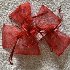 50 Christmas Red Small Organza Gift Bags 9
