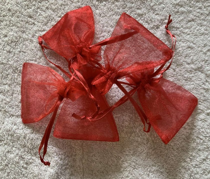 50 Christmas Red Small Organza Gift Bags 4
