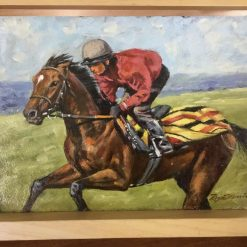 Original Oil Horse Racing Painting on Board entitled 'Gallop'