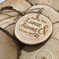 Save the date engraved wood log slice