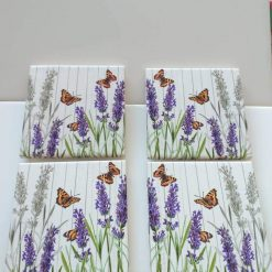 Set of 4 Butterfly and Lavender Coasters