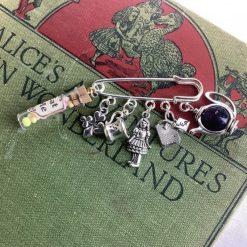 Alice in Wonderland kilt pin brooch, bag charm