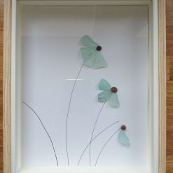 Sea glass flower picture - framed