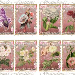 Flowers,Journal Ephemera, Labels, Tags, Junk Journal, Card Making, Journal Cards, ATC, Card Toppers.