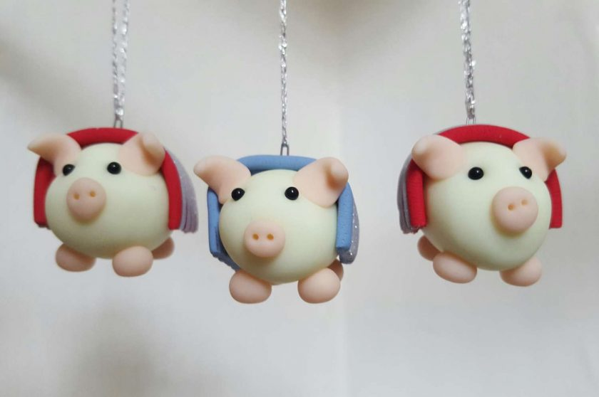 Pig in blanket hanging ornament - piglets in blankets - glow in the dark pigs - Christmas tree decoration