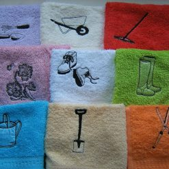 Personalised embroidered gardening design face flannel/cloth, £4.45