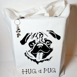 Pug Dog Tote Bag , Hug a Pug  with Bag Charm (Can Be Personalised)