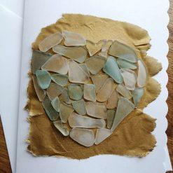 Sea glass heart card