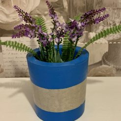 Plant Pot, Blue Stripe Concrete