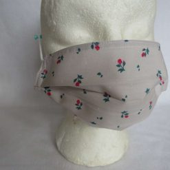 Hand Made Face Mask - One Size - Fully Washable - in Pretty Beige and Pink rose florals 13