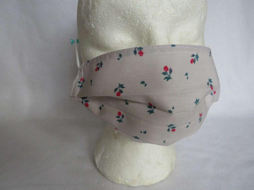 Hand Made Face Mask - One Size - Fully Washable - in Pretty Beige and Pink rose florals 1