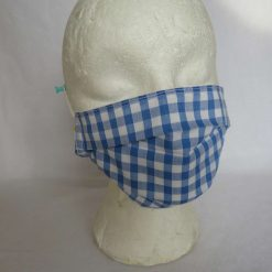 Hand made Face Mask - One Size - Fully Washable - in pretty pale blue Gingham Check 14