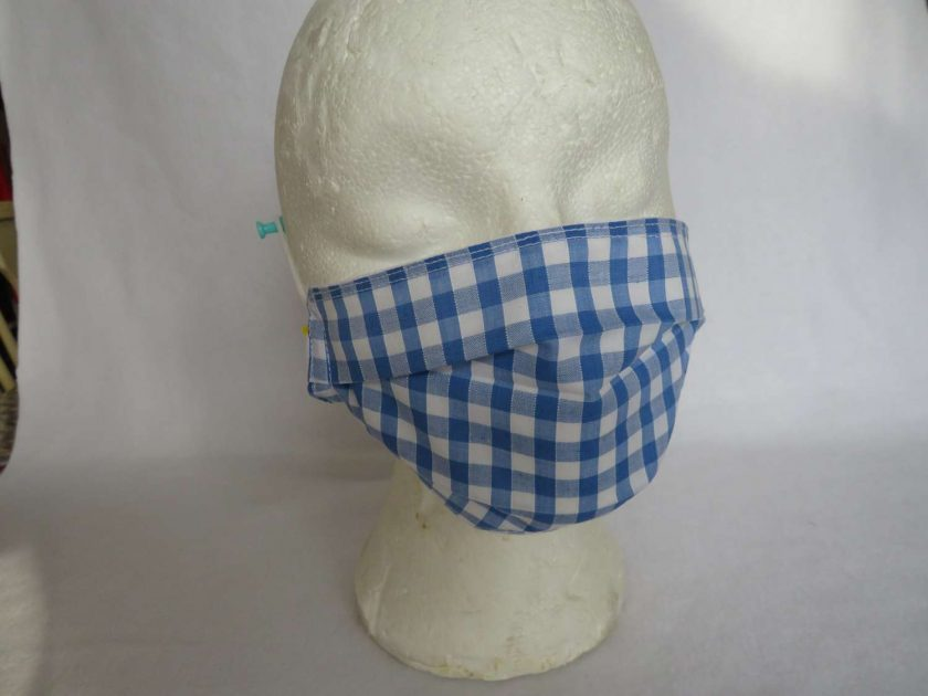 Hand made Face Mask - One Size - Fully Washable - in pretty pale blue Gingham Check 1