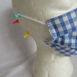 Hand made Face Mask - One Size - Fully Washable - in pretty pale blue Gingham Check 13