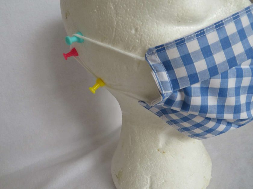 Hand made Face Mask - One Size - Fully Washable - in pretty pale blue Gingham Check 6