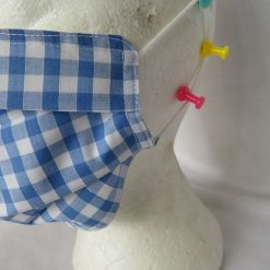 Hand made Face Mask - One Size - Fully Washable - in pretty pale blue Gingham Check 12