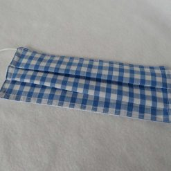 Hand made Face Mask - One Size - Fully Washable - in pretty pale blue Gingham Check 11