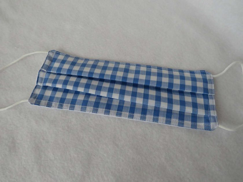 Hand made Face Mask - One Size - Fully Washable - in pretty pale blue Gingham Check 4