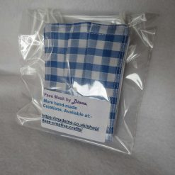 Hand made Face Mask - One Size - Fully Washable - in pretty pale blue Gingham Check 9