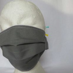 Hand Made Face Mask - One Size - Fully Washable - in smart plain grey 14