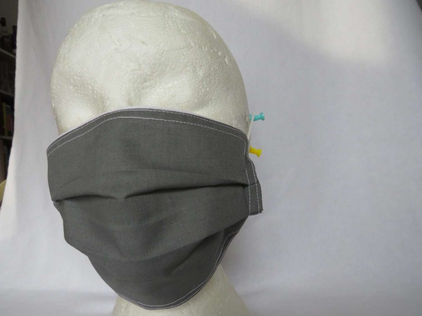 Hand Made Face Mask - One Size - Fully Washable - in smart plain grey 1