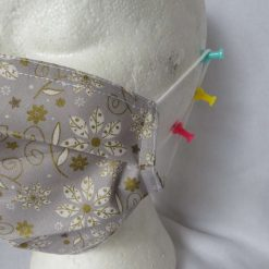 Hand Made Face Mask - One Size - Fully Washable -in pretty grey White and gold Christmas theme 17