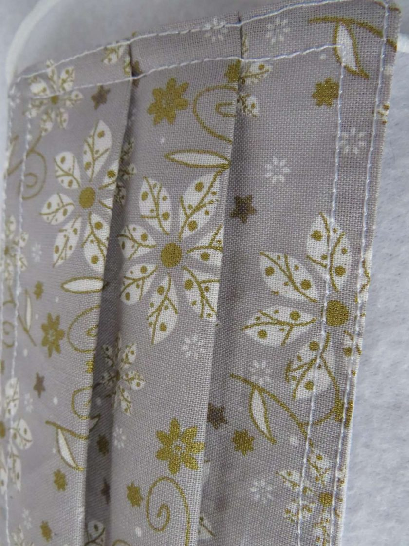 Hand Made Face Mask - One Size - Fully Washable -in pretty grey White and gold Christmas theme 3