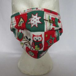 Hand Made Face Mask - One Size - Fully Washable - in a lovely Christmas OWL Theme 13