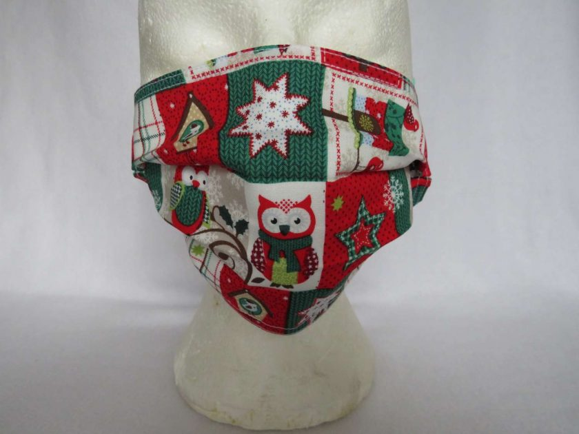 Hand Made Face Mask - One Size - Fully Washable - in a lovely Christmas OWL Theme 1