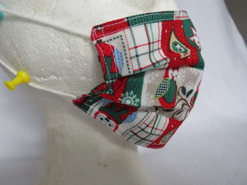 Hand Made Face Mask - One Size - Fully Washable - in a lovely Christmas OWL Theme 6