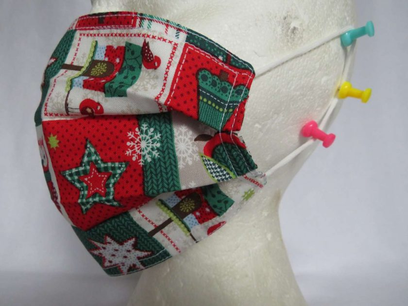 Hand Made Face Mask - One Size - Fully Washable - in a lovely Christmas OWL Theme 5