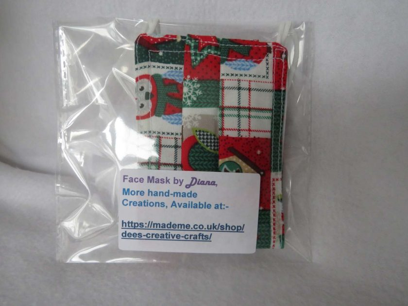 Hand Made Face Mask - One Size - Fully Washable - in a lovely Christmas OWL Theme 2