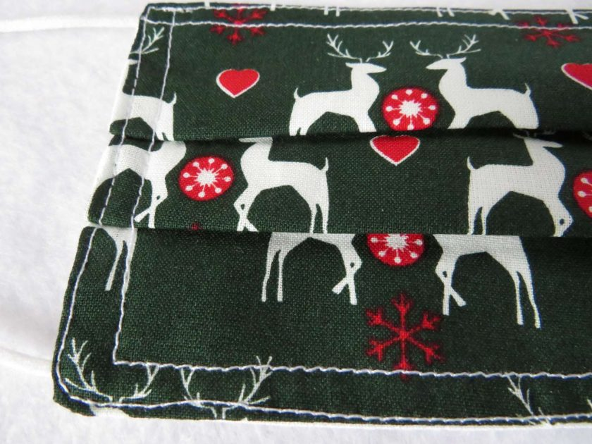 Hand made Face Mask - One Size - Fully Washable - Christmas White Reindeer Design 4