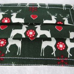Hand made Face Mask - One Size - Fully Washable - Christmas White Reindeer Design 11