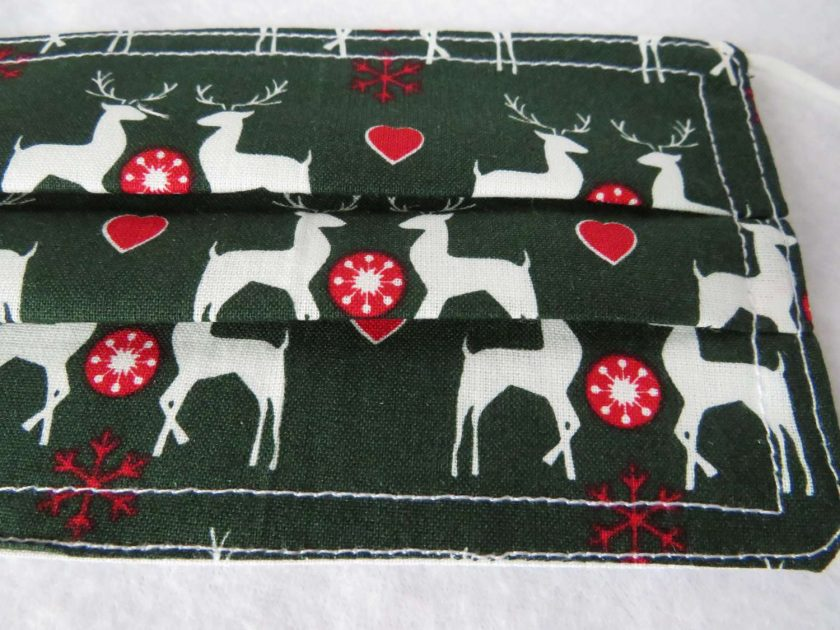 Hand made Face Mask - One Size - Fully Washable - Christmas White Reindeer Design 3