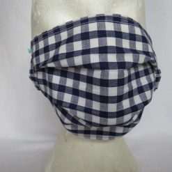 Hand Made Face Mask - One Size - Fully Washable - in Pretty Navy Blue Gingham Check 13