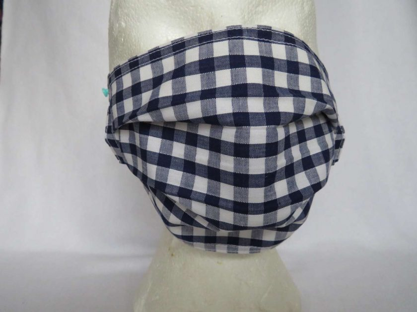 Hand Made Face Mask - One Size - Fully Washable - in Pretty Navy Blue Gingham Check 1