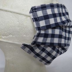 Hand Made Face Mask - One Size - Fully Washable - in Pretty Navy Blue Gingham Check 10