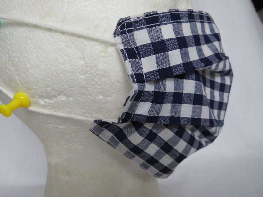 Hand Made Face Mask - One Size - Fully Washable - in Pretty Navy Blue Gingham Check 3
