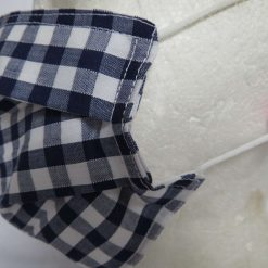Hand Made Face Mask - One Size - Fully Washable - in Pretty Navy Blue Gingham Check 11