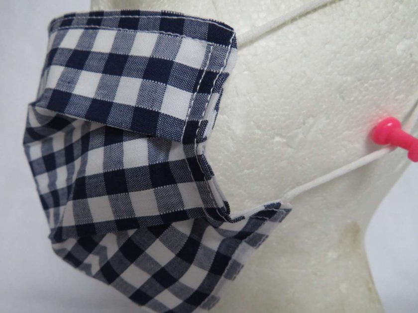 Hand Made Face Mask - One Size - Fully Washable - in Pretty Navy Blue Gingham Check 4