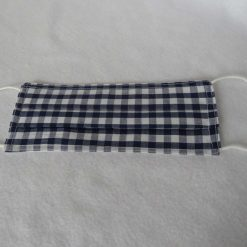 Hand Made Face Mask - One Size - Fully Washable - in Pretty Navy Blue Gingham Check 9