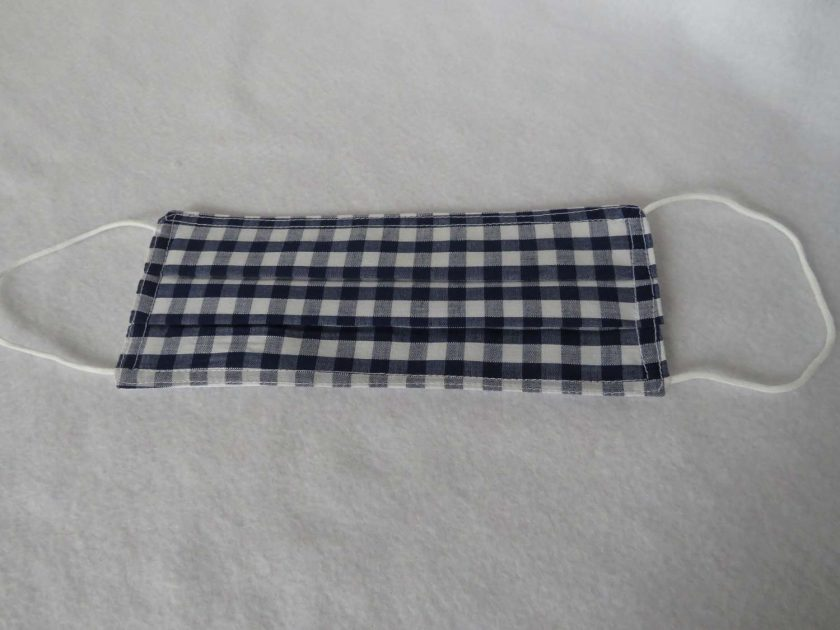 Hand Made Face Mask - One Size - Fully Washable - in Pretty Navy Blue Gingham Check 2