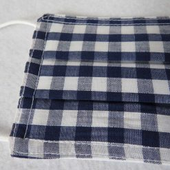 Hand Made Face Mask - One Size - Fully Washable - in Pretty Navy Blue Gingham Check 12