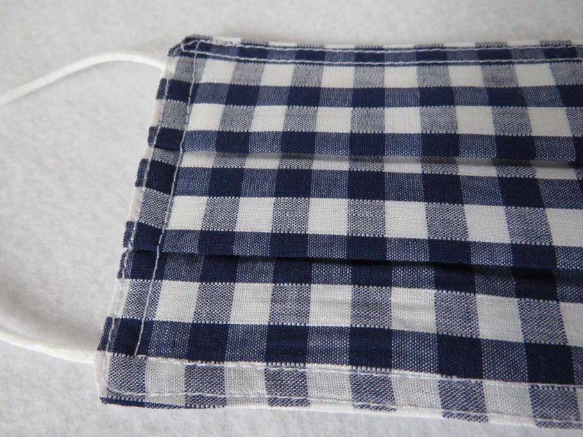 Hand Made Face Mask - One Size - Fully Washable - in Pretty Navy Blue Gingham Check 5