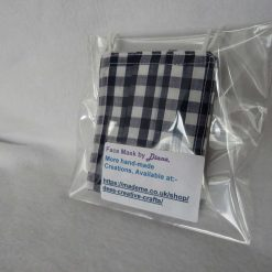 Hand Made Face Mask - One Size - Fully Washable - in Pretty Navy Blue Gingham Check 15